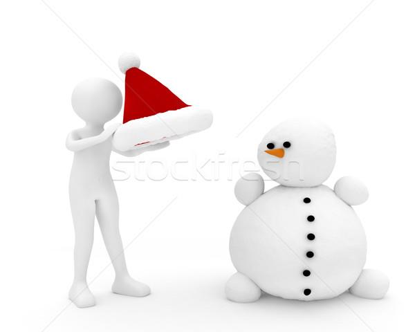 3d persoon sneeuwpop 3d render sneeuw witte persoon Stockfoto © fotoaloja