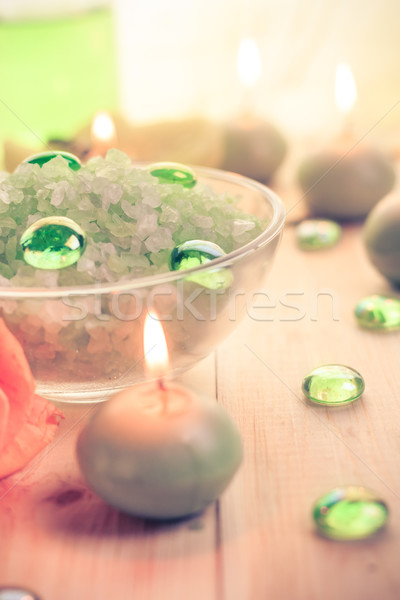 Spa concept salt bath scented candles Stock photo © fotoaloja
