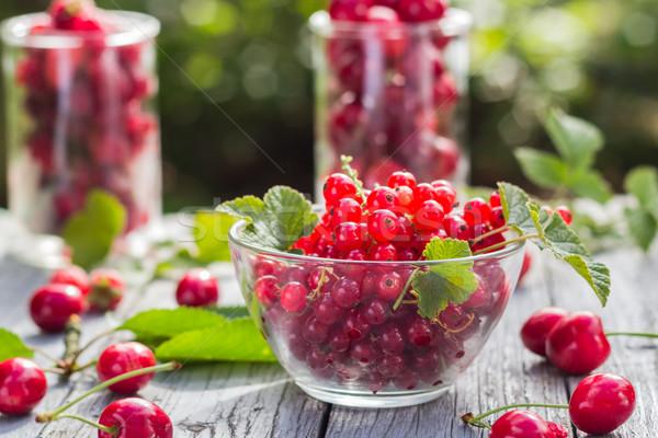 Fruits cherries currants wooden background Stock photo © fotoaloja