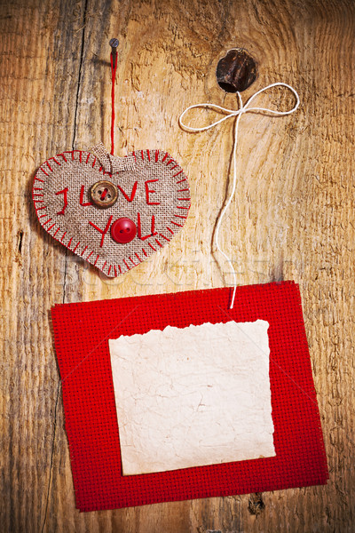 Stock photo: Decoration on Wooden background with fabric Heart and blank card