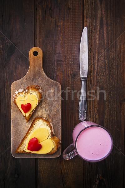 hearts sandwiches boards buttermilk knife breakfast food Stock photo © fotoaloja