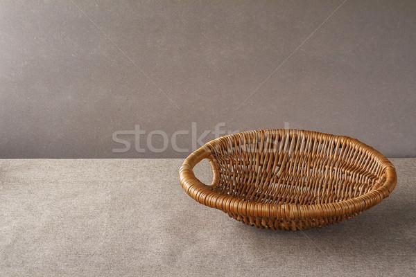 empty wicker wooden basket grunge background Stock photo © fotoaloja
