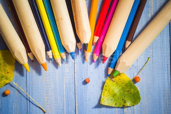 Klasszikus színes ceruzák ősz gyümölcsök kék Stock fotó © fotoaloja
