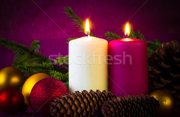 Christmas ornaments lighted candles baubles spruce twigs Stock photo © fotoaloja