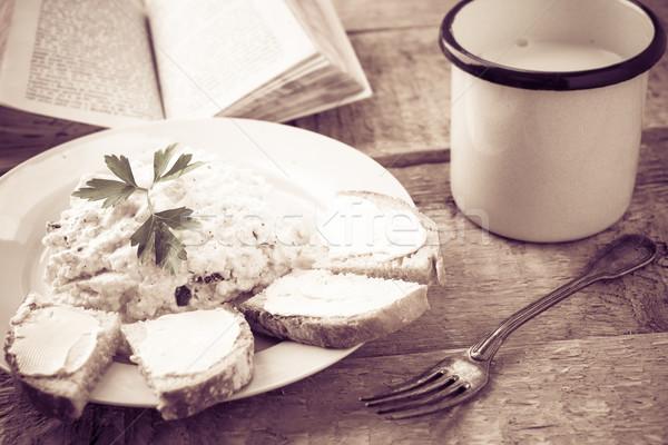 Stock fotó: Finom · reggeli · könyv · konyhaasztal · klasszikus · étel