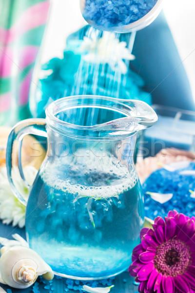 Megnyugtató fürdő fürdőkád aromás áramló só Stock fotó © fotoaloja