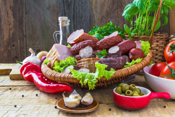 Salsiccia pancetta verdura legno natura Foto d'archivio © fotoaloja