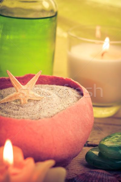 Olio massaggio aromatico candele pietre zen Foto d'archivio © fotoaloja
