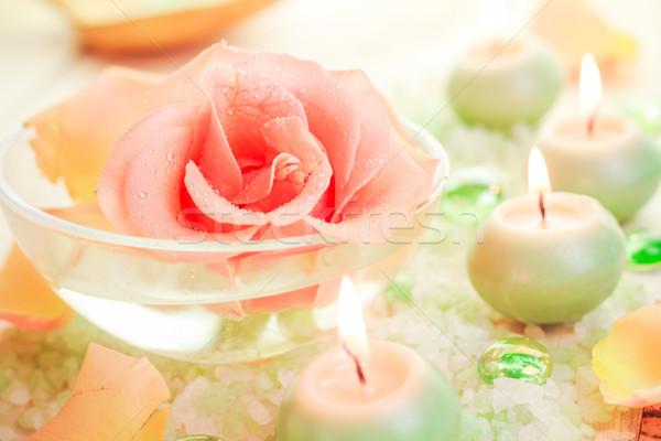 Fürdő alkotóelemek rózsa virág fürdősó aromás Stock fotó © fotoaloja