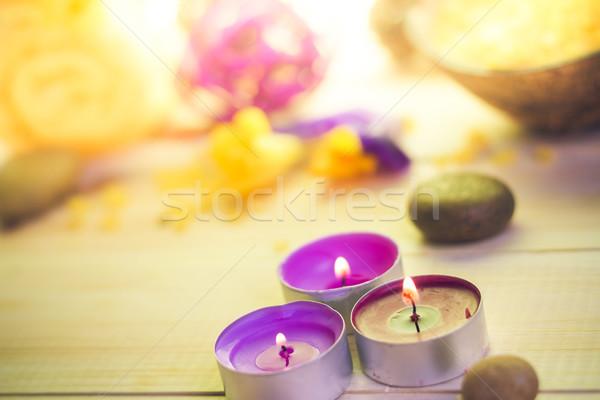 Attributes relaxation spa wooden table Stock photo © fotoaloja
