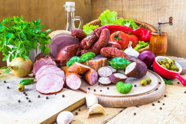 Varietà carne prodotti legno natura Foto d'archivio © fotoaloja