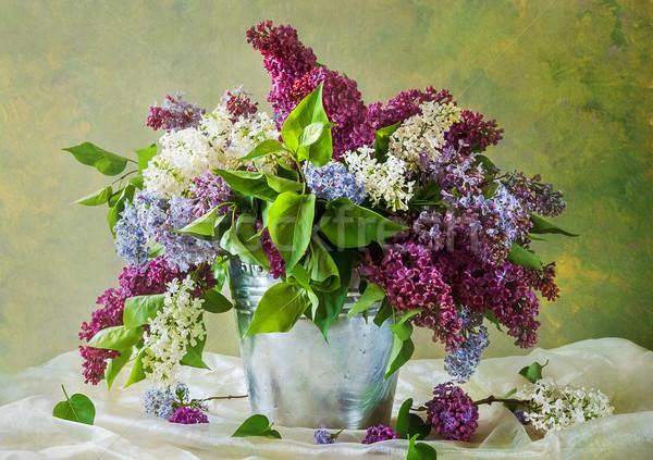 Stock fotó: Csendélet · virágcsokor · virágok · tavasz · fa · természet