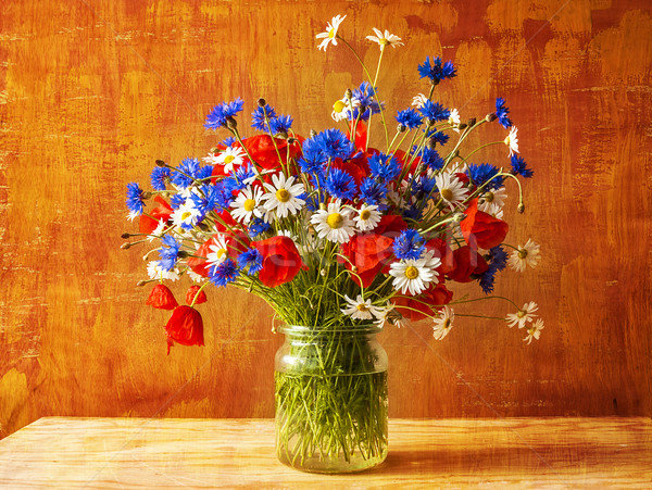 Still life bouquet colorful wild flowers Stock photo © fotoaloja