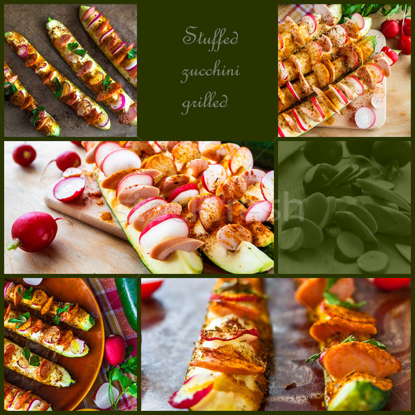 Grilled zucchini stuffing collages preparation Stock photo © fotoaloja