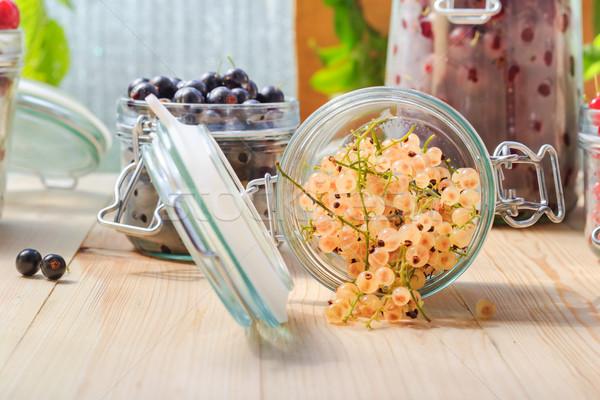 white black red currants gooseberries jars preparations Stock photo © fotoaloja