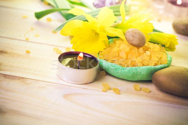 Spa kokulu mum tuz banyo çiçek Stok fotoğraf © fotoaloja
