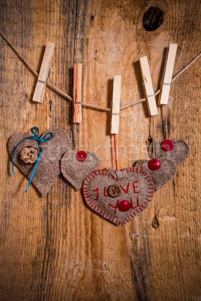 Valentine background hand-sewn heart wood wooden Stock photo © fotoaloja