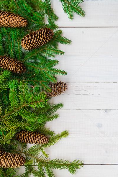 Natale abete rosso bianco legno sfondo Foto d'archivio © fotoaloja