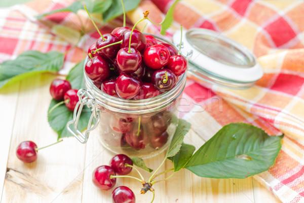 Summer fruits closeup cherries jar processed Stock photo © fotoaloja