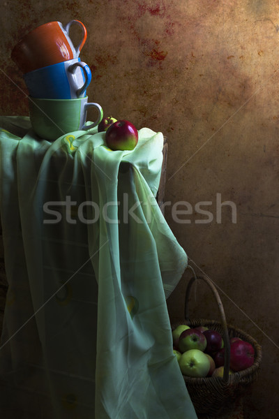 Still Life cups basket apples Stock photo © fotoaloja