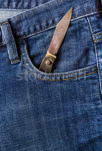 old knife front pocket jeans Stock photo © fotoaloja