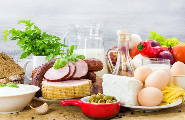 Zestaw inny zdrowa dieta wiele drewna Zdjęcia stock © fotoaloja