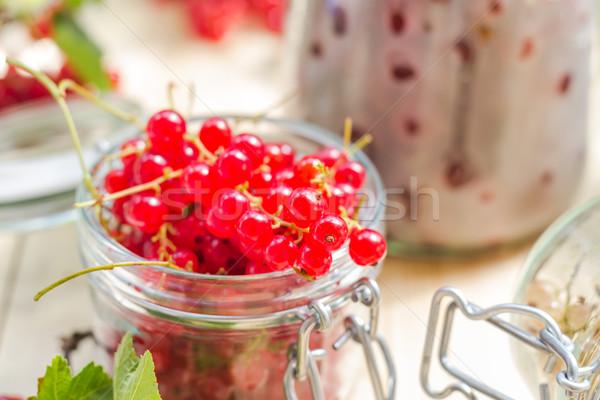 red white currants gooseberries jars preparations Stock photo © fotoaloja