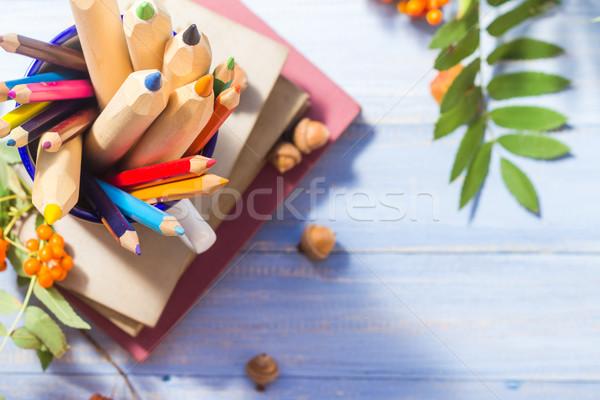 Pencils books concept back school autumn fruit Stock photo © fotoaloja