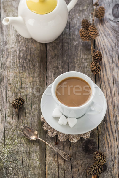 coffee cup black wooden board brown pines white jug Stock photo © fotoaloja