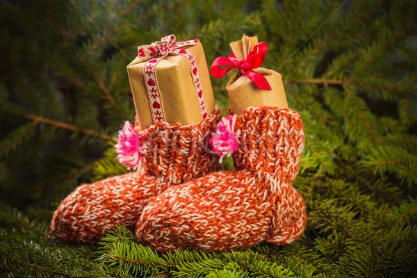 Noël cadeaux chaussettes décorations épinette Photo stock © fotoaloja