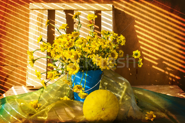 Still life bunch small yellow florets melon Stock photo © fotoaloja
