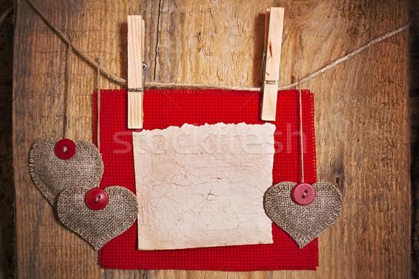装飾 木製 ファブリック 中心 ブランクカード 結婚式 ストックフォト © fotoaloja