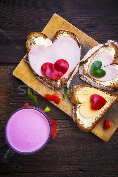 heart sandwich shape wood board peppers food buttermilk Stock photo © fotoaloja
