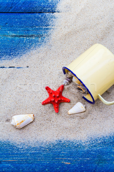 Stock photo: colorful shells cup sand strewn blue boards