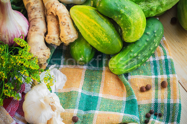Ingredientes preparación pepinos granja mercado planta Foto stock © fotoaloja