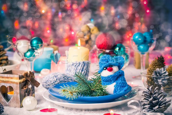 Christmas xmas eve table board setting New Year Stock photo © fotoaloja