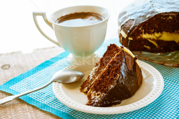 brownie cake dessert cocoa sweet coffee cup Stock photo © fotoaloja