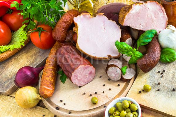 Variëteit vlees producten groenten hout natuur Stockfoto © fotoaloja