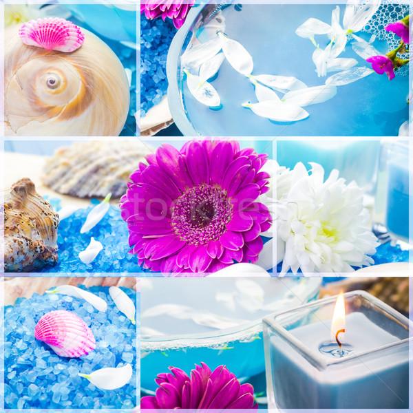 Wellness kollázs virágmintás víz fürdősó fürdő Stock fotó © fotoaloja