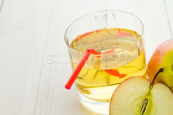 リンゴジュース リンゴ 木製のテーブル フルーツ 表 レトロな ストックフォト © fotoaloja