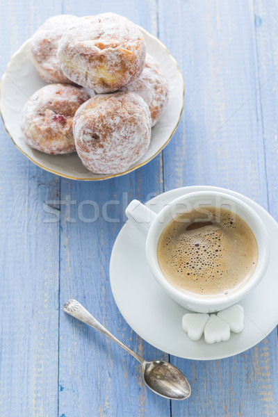 Coffee cup milk sweet dessert donuts icing sugar Stock photo © fotoaloja