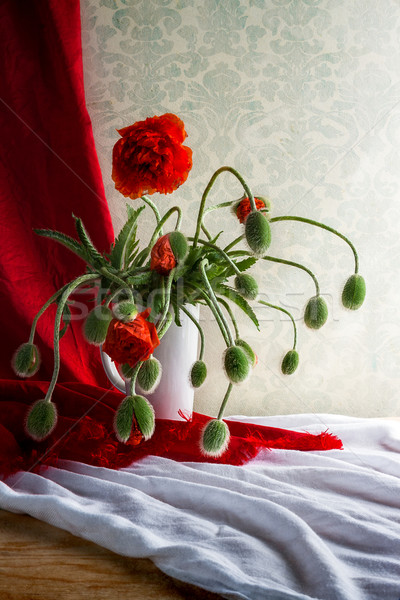 Ancora vita bouquet rosso papaveri fiori legno Foto d'archivio © fotoaloja