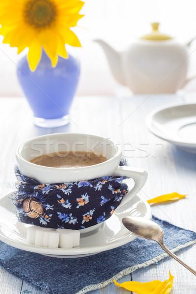 coffee cup black wooden board brown white jug milk sunflower Stock photo © fotoaloja