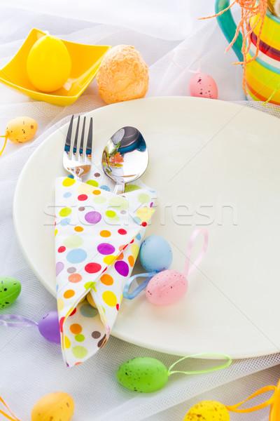 イースター 表 銀食器 ナプキン 卵 レストラン ストックフォト © fotoaloja