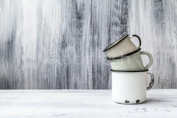 art still life cup mug tin wooden vintage Stock photo © fotoaloja