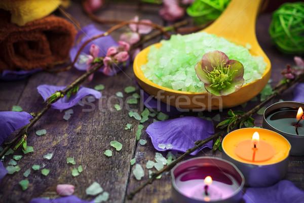 Spa sal bano aromático velas salud Foto stock © fotoaloja