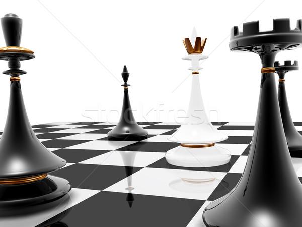 Schaken schaakmat 3d render zwarte succes spelen Stockfoto © fotoaloja