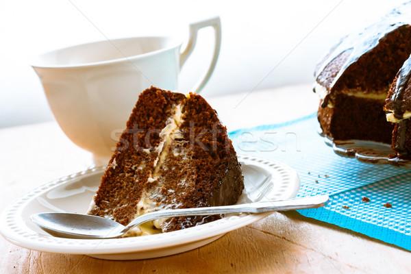 cake dessert brownie cocoa sweet coffee cup Stock photo © fotoaloja