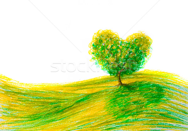 Paysage arbre forme coeur printemps art Photo stock © fotoaloja