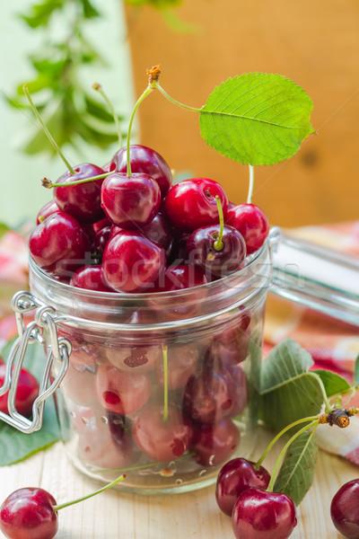 Fresh fruit cherries jar for products processed Stock photo © fotoaloja